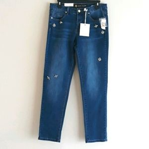 Anne Klein Jeweled Phoenix Washed Girlfriend Jeans